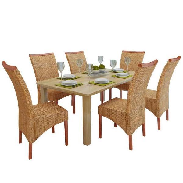 Vidaxl set 6 sedie da pranzo intrecciate in rattan con