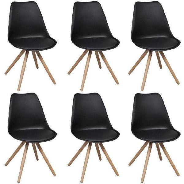 Vidaxl set 6 sedie da cucina in pelle artificiale nera