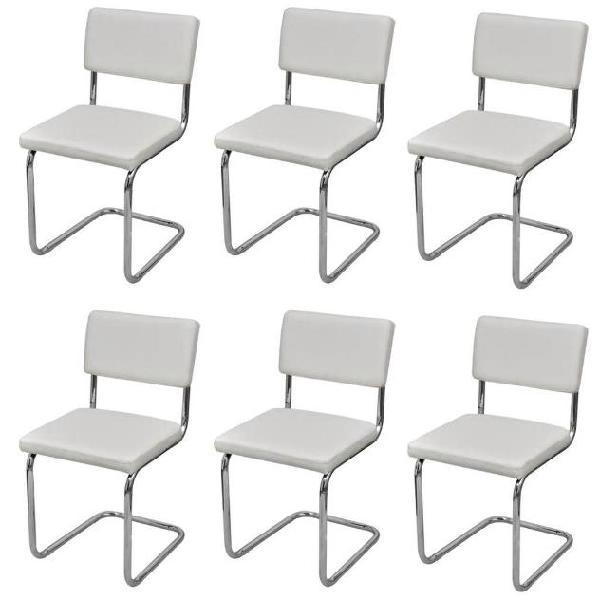 Vidaxl set 6 pz sedie da pranzo bianche disegno moderno in