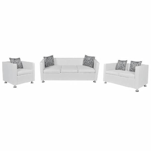 Vidaxl set divani 3 e 2 posti e poltrona in pelle