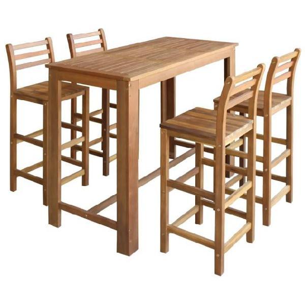 Vidaxl set tavolo e sedie da bar 5 pz in legno massello di