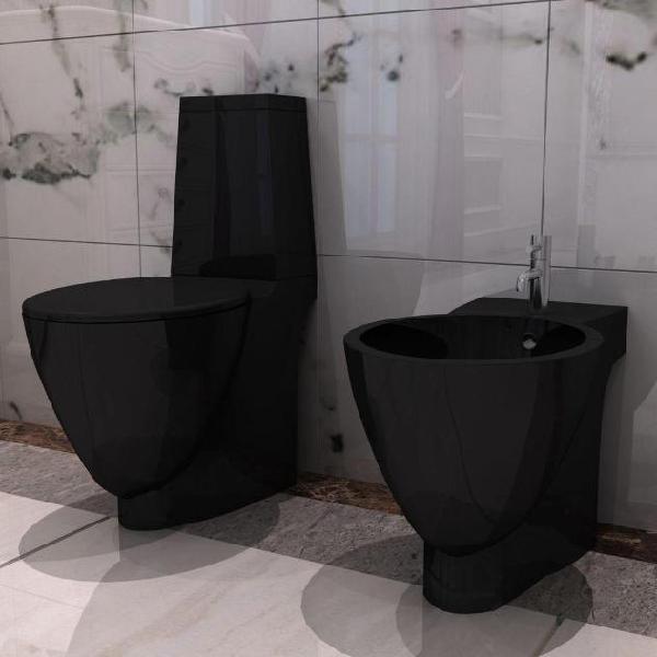 Vidaxl set toilette e bidè in ceramica nero