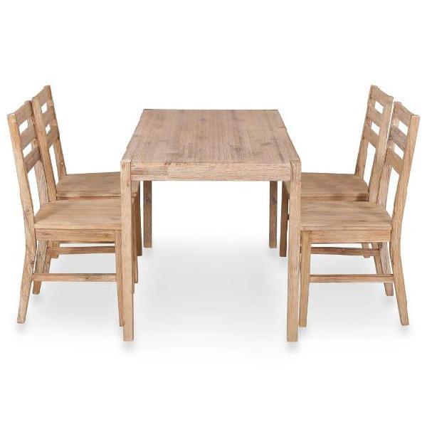 Vidaxl set per sala da pranzo 5 pz in legno massello di