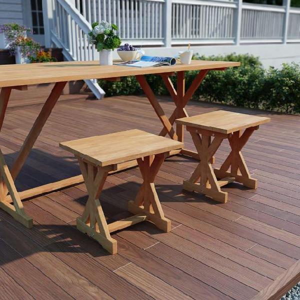 Vidaxl sgabello da giardino 42x35x45 cm in legno massello di