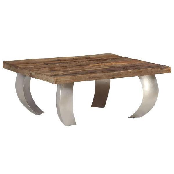 Vidaxl tavolino da caffè in legno di traversina e acciaio