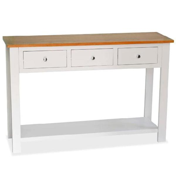 Vidaxl tavolo consolle 118x35x77 cm in massello di rovere