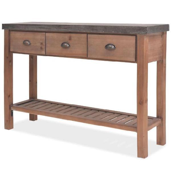 Vidaxl tavolo consolle in legno massello di abete 122x35x80