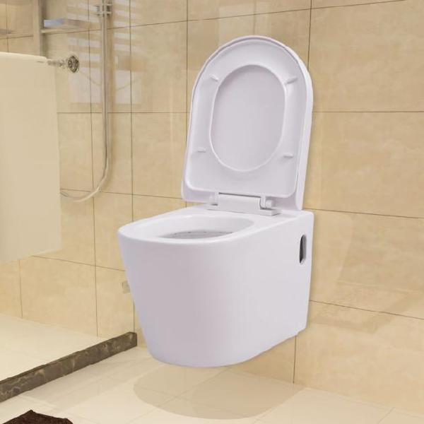 Vidaxl wc sospeso in ceramica bianca