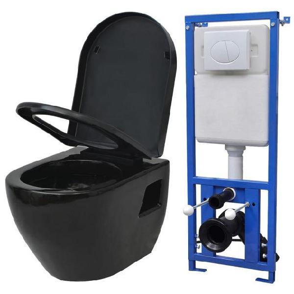 Vidaxl wc sospeso in ceramica nera con sciacquone