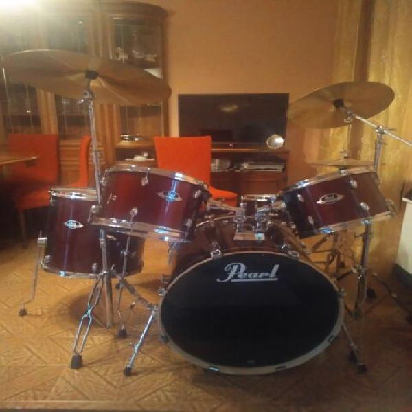 Batteria pearl export series drums rosso rubino usata