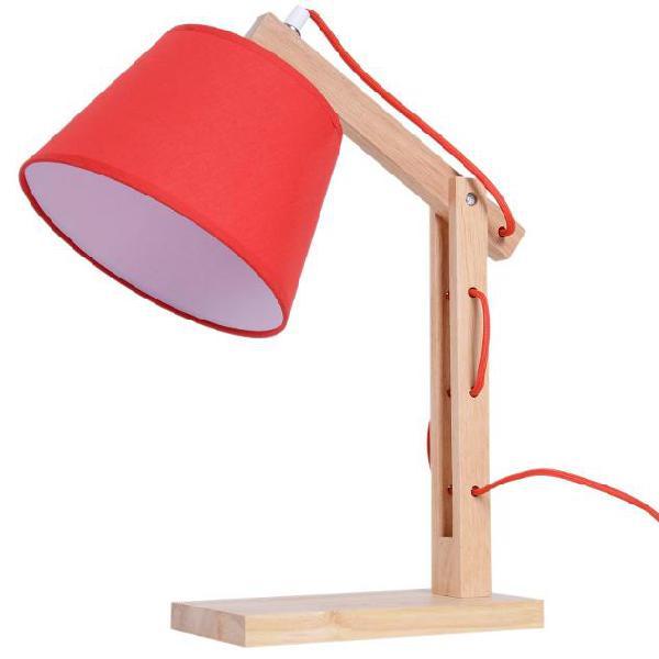 Lampada da tavolo con braccio regolabile in rovere e