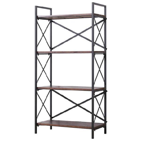 Libreria scaffalatura a 4 ripiani in acciaio e legno