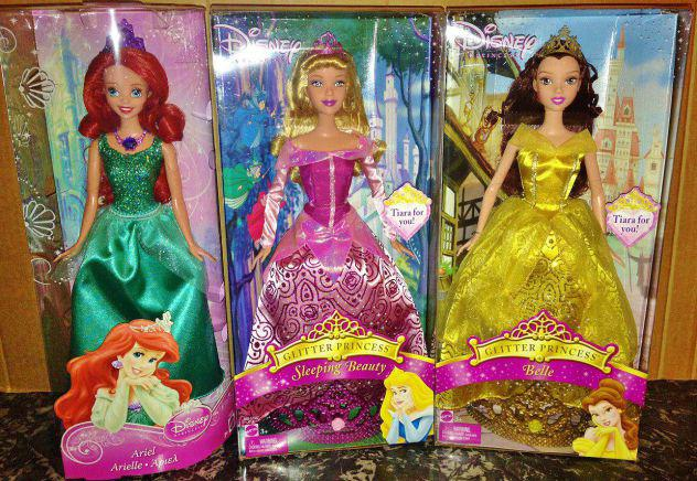 Lotto 3 bambole disney princess principesse aurora belle