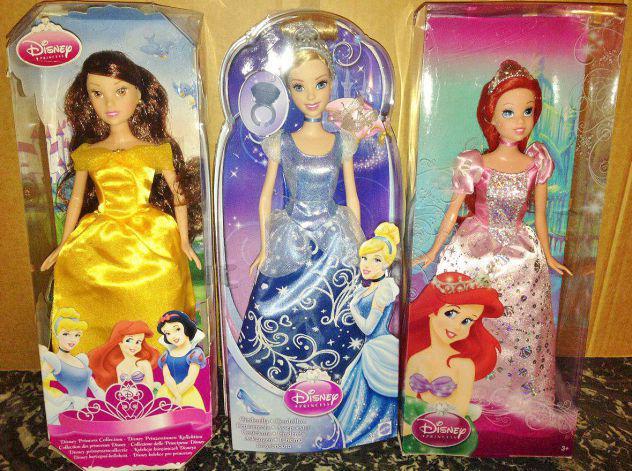 Lotto 3 bambole disney princess principesse cenerentola