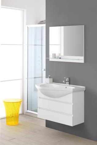 Mobile da bagno sospeso bianco laccato composizione bagno