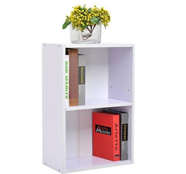 Mobiletto libreria con ripiano in legno bianco 40x24x61 cm