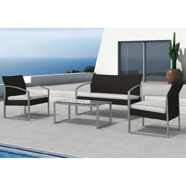 Set salotto da giardino divano + 2 poltrone + tavolino