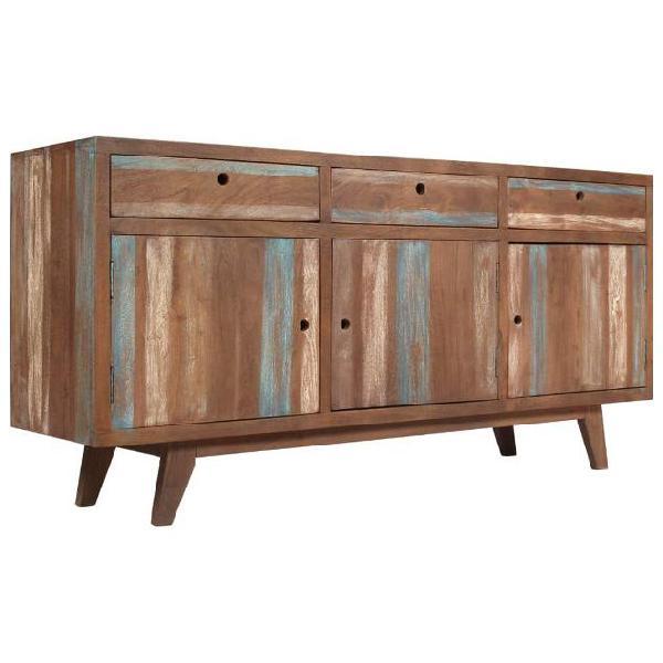Vidaxl credenza in legno massello stile vintage 145x40x75 cm
