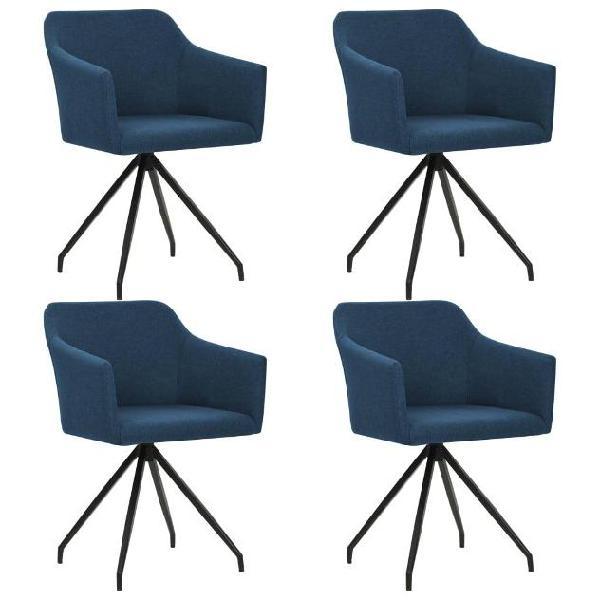 Vidaxl sedia per sala da pranzo girevole 4 pz in tessuto blu