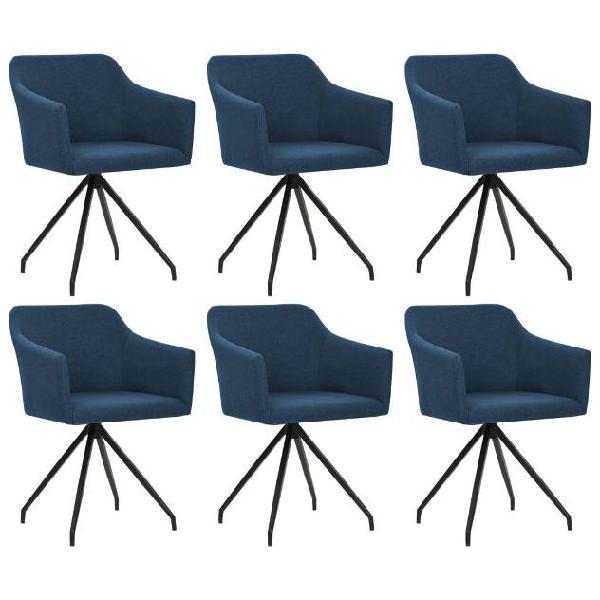 Vidaxl sedia per sala da pranzo girevole 6 pz in tessuto blu
