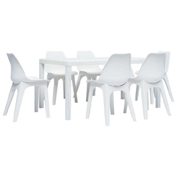 Vidaxl set pranzo da giardino 7 pz in plastica bianco