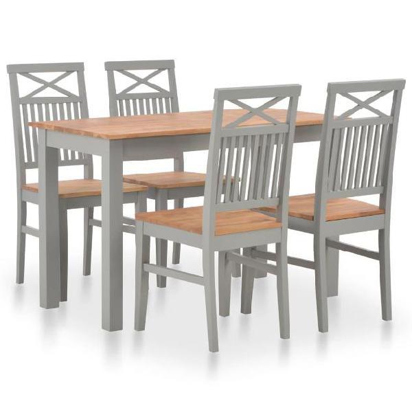 Vidaxl set da pranzo 5 pz in legno massello di rovere