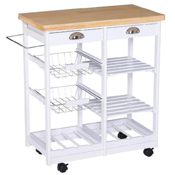 Carrello da cucina con cassetti e portabottiglie legno e