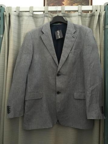 J KEYDGE Giacca uomo a righe biancheazzurre cotone tg 54