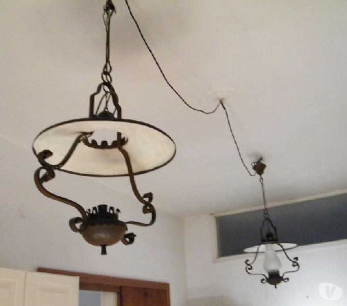 2 lampadari rusticovintage '60 in ferro-battuto