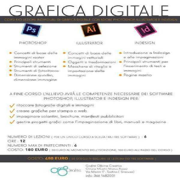 Corsi di grafica digitale, photoshop, illustrator e indesign