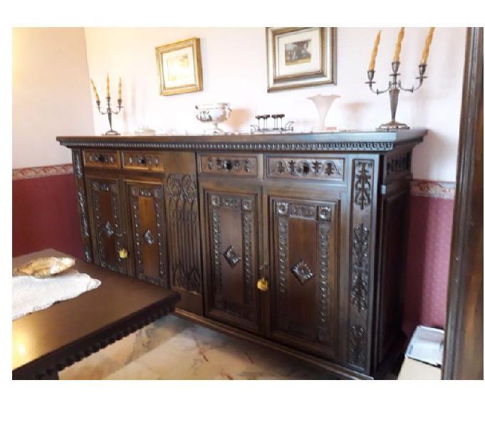 Mobile con tavolo, 6 sedie,stile '400 fiorentino.