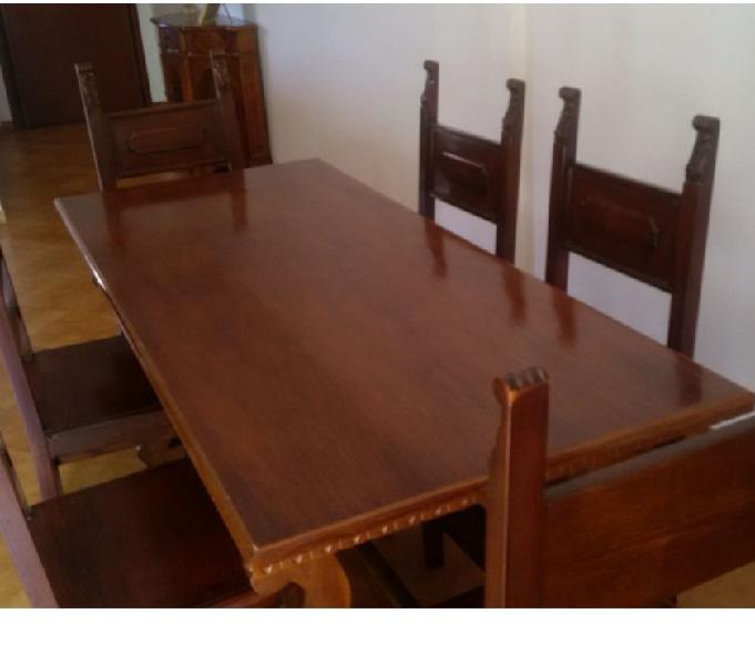 Tavolo da sala in legno massiccio con 6 sedie e 2 cassetti