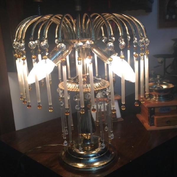 LAMPADARIO liberty in ottone brunito a 2 luci con VETRI VERDI OPALINE