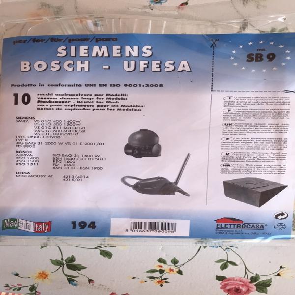 10x Sacchetto per Aspirapolvere Carta per Siemens VS 06 G 2022 synchropower