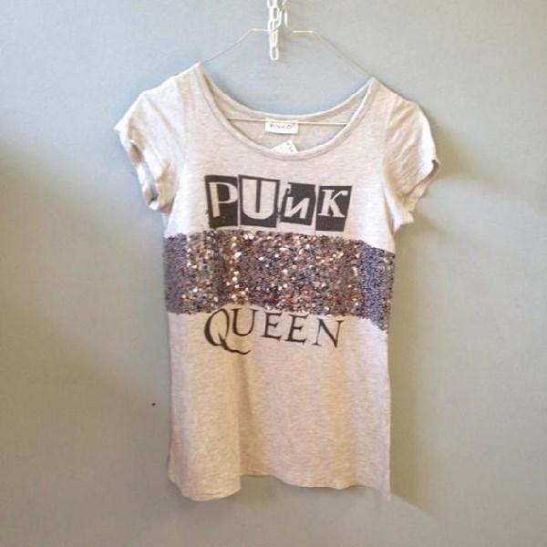 T shirt donna pinko grigia paiette punk queen