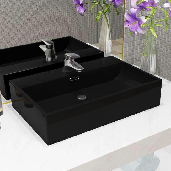Vidaxl lavandino con foro rubinetto in ceramica nero