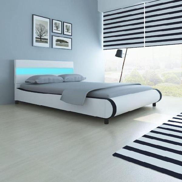 Vidaxl letto in ecopelle con testiera led 140 cm+materasso
