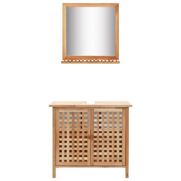 Vidaxl mobiletto per lavello con specchio in legno massello