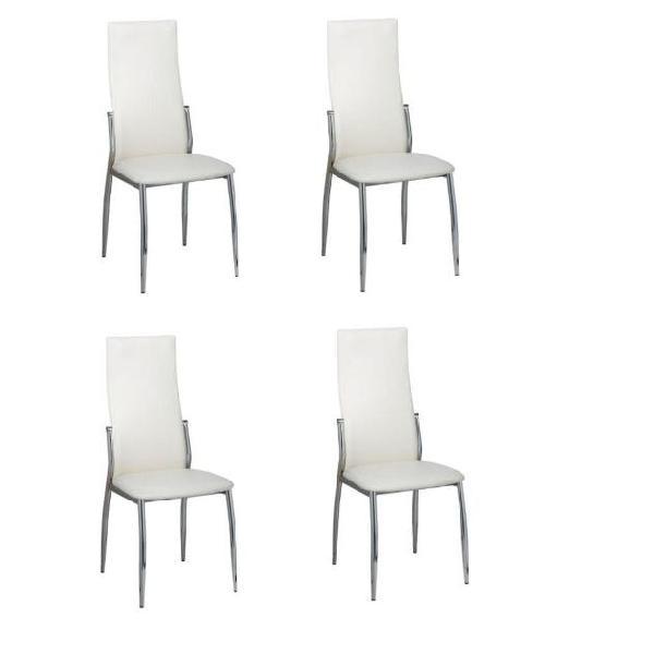 Vidaxl sedie sala da pranzo 4 pz in pelle sintetica bianca