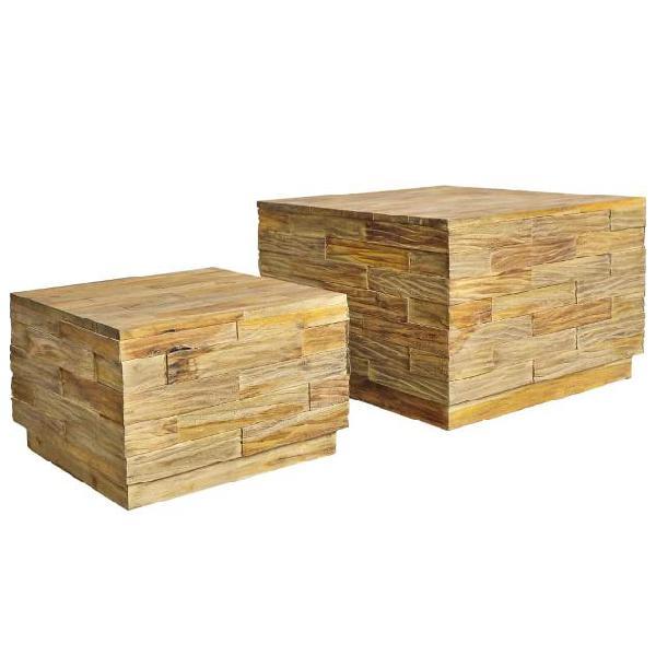 Vidaxl set tavolini da caffè 2 pz legno massello di teak
