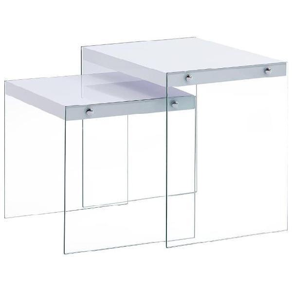 Vidaxl tavolini impilabili 2 pz bianchi in mdf