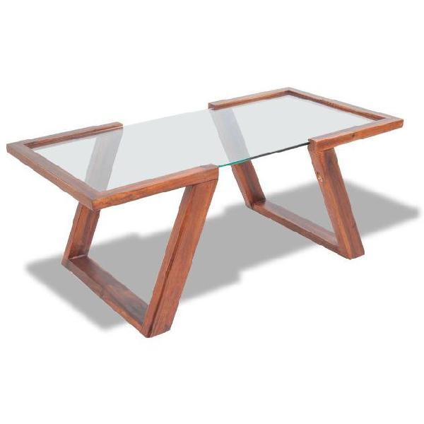 Vidaxl tavolino da caffè in legno massello acacia marrone
