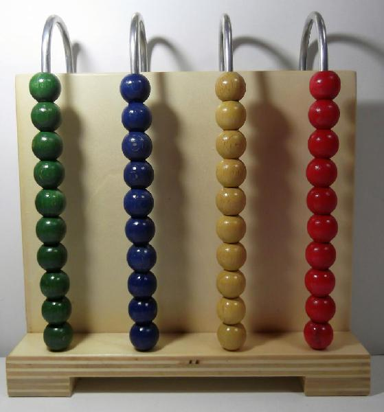 Abaco abacus pallottoliere in legno con 4 aste me