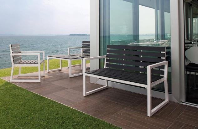 Set da giardino divano 2 poltrone e tavolino in alluminio