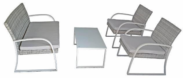 Set da giardino divano 2 poltrone e tavolino in ferro epoxy