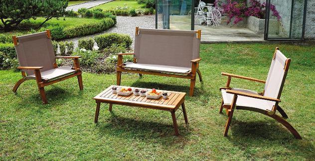 Set da giardino divano 2 poltrone e tavolino in legno