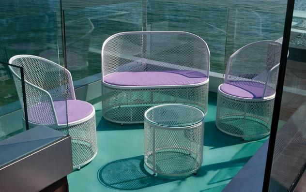 Set da giardino divano 2 poltrone e tavolino in rete stirata
