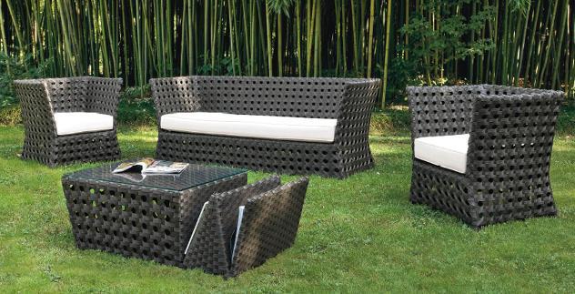 Set da giardino divano 2 poltrone e tavolino in wicker