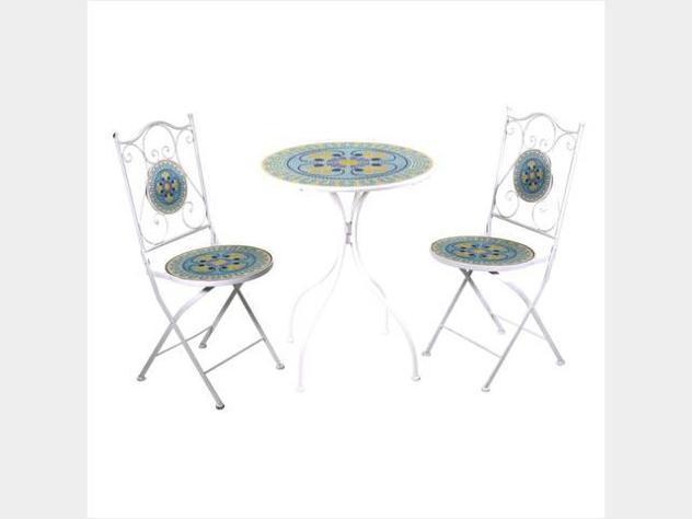 Tavolo metallo brindisi mosaico tondo 2 sedie