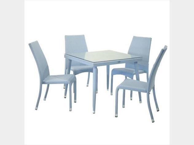 Tavolo polyrattan adila azzurro con 4 sedie nuovo